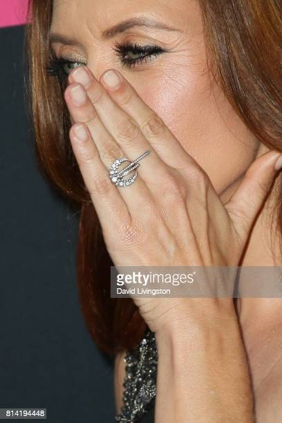 Actress Kate Walsh ring detail attends the premiere of Universal Pictures' Girls Trip at Regal LA Live Stadium 14 on July 13 2017 in Los Angeles...