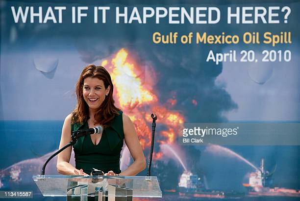Actress Kate Walsh speaks during the Oceana rally in Upper Senate Park on Wednesday April 20 to mark the oneyear anniversary of the BP oil spill and...