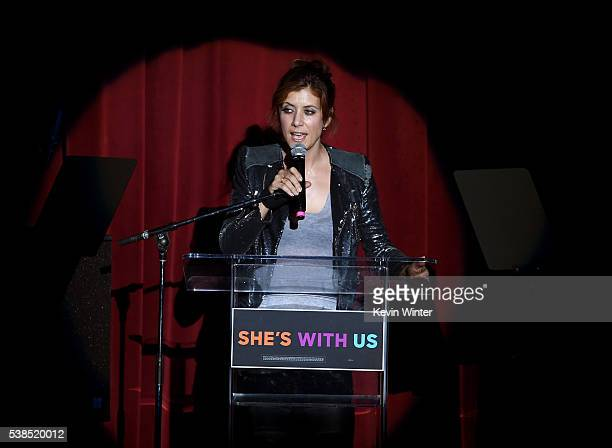 Actress Kate Walsh speaks onstage during the Hillary Clinton She's With Us concert at The Greek Theatre on June 6 2016 in Los Angeles California