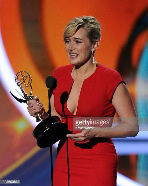 Actress Kate Winslet accepts the Outstanding Lead Actress in a Miniseries or Movie award onstage during the 63rd Annual Primetime Emmy Awards held at...