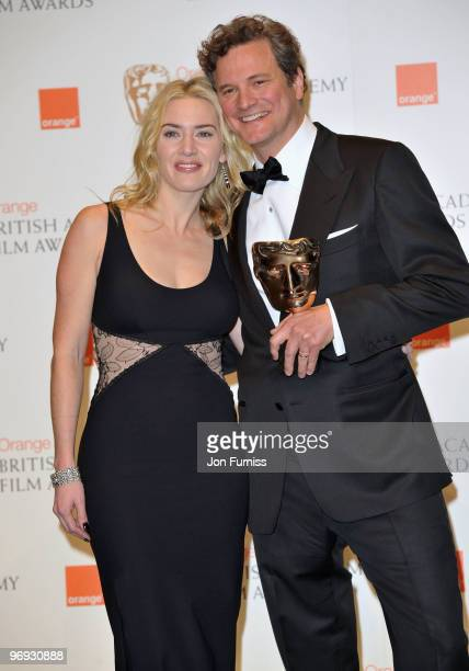 """Actress Kate Winslet and actor Colin Firth with the Best Actor award for """"A Single Man"""" during the Orange British Academy Film Awards 2010 at the..."""