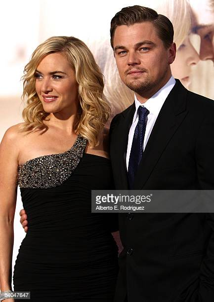 Actress Kate Winslet and actor Leonardo DiCaprio arrive at Paramount Vantage's Los Angeles premiere of 'Revolutionary Road' held at Mann Village...