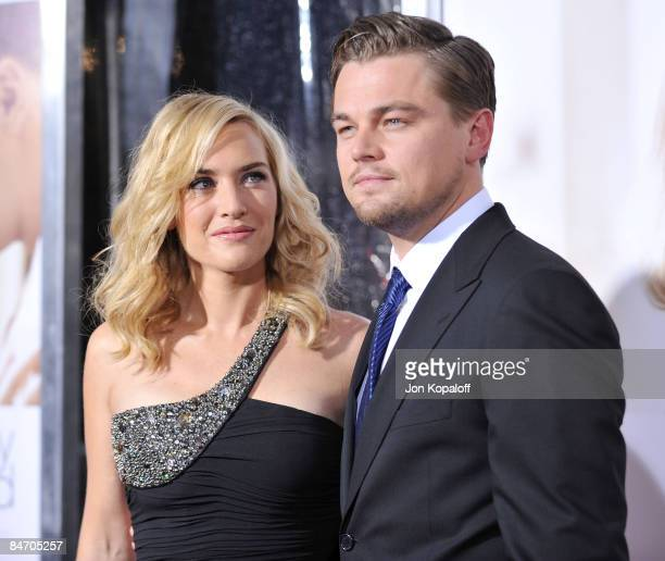 Actress Kate Winslet and actor Leonardo DiCaprio arrive at the Los Angeles Premiere 'Revolutionary Road' at the Mann Village Theater on December 15...