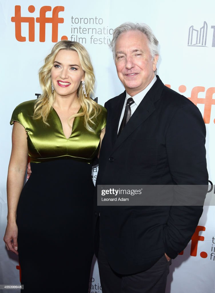 Actress Kate Winslet (L) and actor/Director Alan Rickman attend the 'A Little Chaos' premiere during the 2014 Toronto International Film Festival at Roy Thomson Hall on September 13, 2014 in Toronto, Canada.