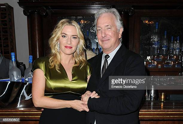 Actress Kate Winslet and director/actor Alan Rickman at A Little Chaos world premiere party hosted by GREY GOOSE vodka and Soho House Toronto during...