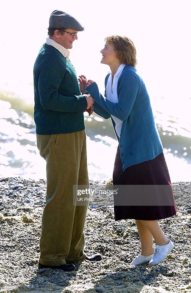 Actress Kate Winslet and Hugh Bonneville act in a scene from the movie, 'Iris' In Suffolk, Great Britain.