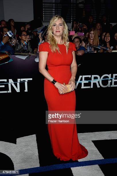 Actress Kate Winslet arrives at the premiere of Summit Entertainment's Divergent at the Regency Bruin Theatre on March 18 2014 in Los Angeles...