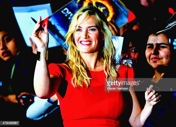 Actress Kate Winslet arrives at the premiere Of Summit Entertainment's 'Divergent' at Regency Bruin Theatre on March 18 2014 in Los Angeles California
