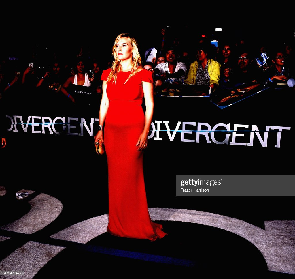 Actress Kate Winslet arrives at the premiere Of Summit Entertainment's 'Divergent' at Regency Bruin Theatre on March 18, 2014 in Los Angeles, California.