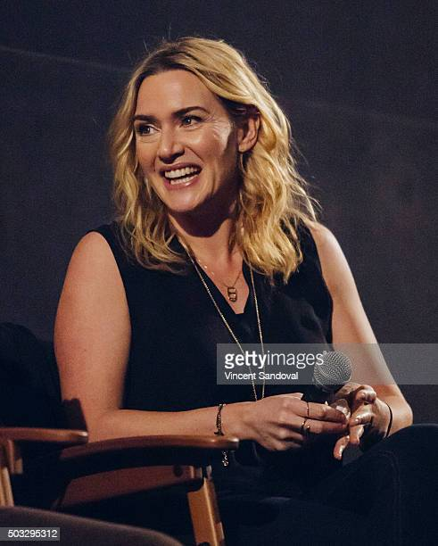 Actress Kate Winslet attends SAGAFTRA Foundation conversations with Michael Fassbender and Kate Winslet for 'Steve Jobs' at the Egyptian Theatre on...