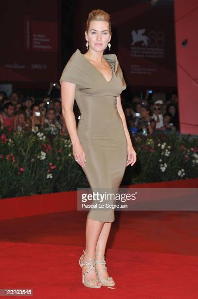 """Actress Kate Winslet attends the """"Carnage"""" premiere at the Palazzo Del Cinema during the 68th Venice Film Festival on September 1, 2011 in Venice,..."""