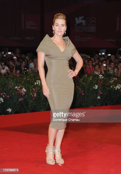 """Actress Kate Winslet attends the """"Carnage"""" premiere during the 68th Venice International Film Festival at Palazzo del Cinema on September 1, 2011 in..."""