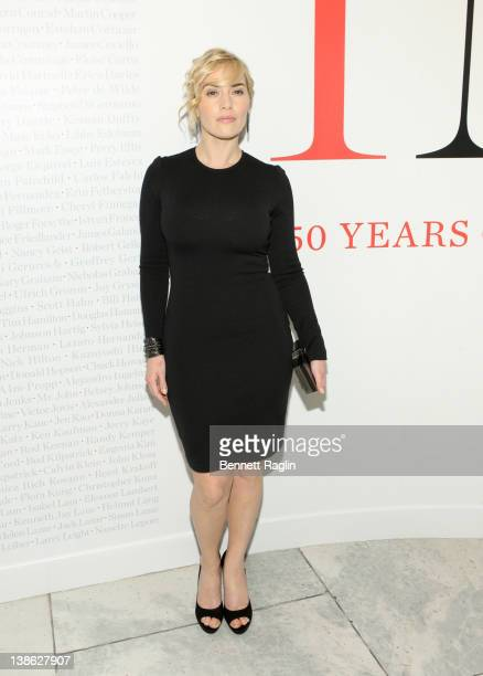 Actress Kate Winslet attends the exhibition opening night gala for Impact 50 Years of the CFDA at The Fashion Institute of Technology on February 9...