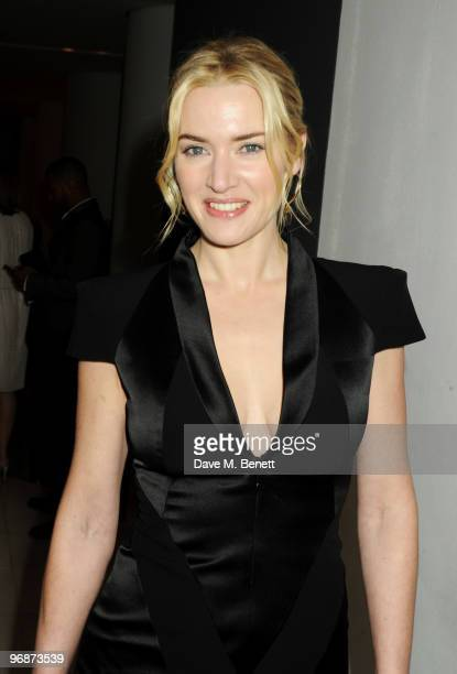 Actress Kate Winslet attends the Lancome and Harper's Bazaar Pre-BAFTA Party co-hosted by actress Kate Winslet, at St Martin's Lane Hotel on February...
