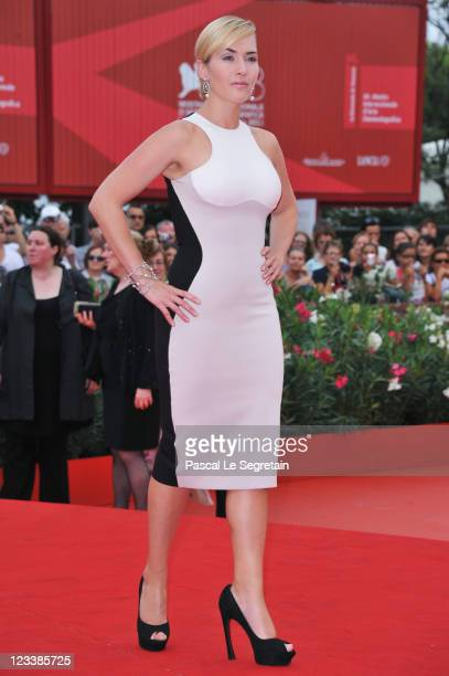 """Actress Kate Winslet attends the """"Mildred Pierce"""" premiere during the 68th Venice Film Festival at Palazzo del Cinema on September 2, 2011 in Venice,..."""