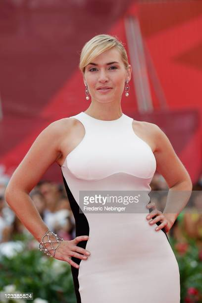 Actress Kate Winslet attends the Mildred Pierce premiere during the 68th Venice Film Festival at Palazzo del Cinema on September 2 2011 in Venice...