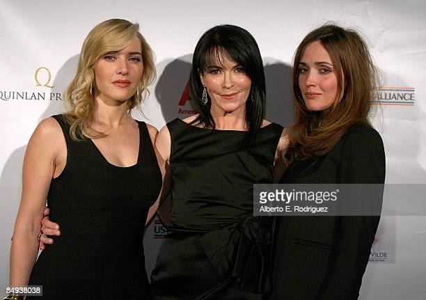 Actress Kate Winslet CAA's Hylda Queally and actress Rose Byrne pose during the 4th annual Oscar Wilde Honoring The Irish In Film awards held at The...