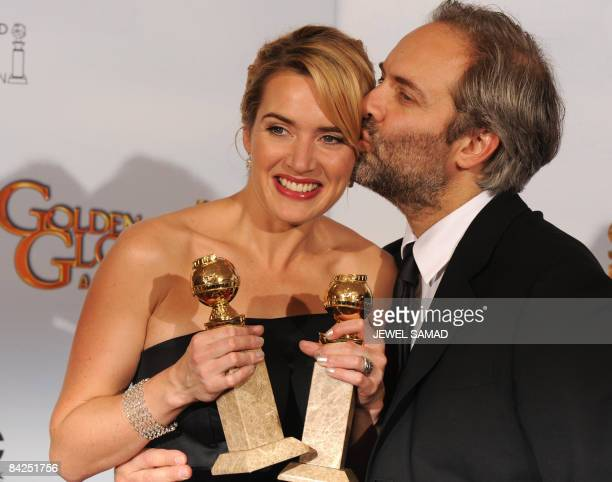 Actress Kate Winslet double winner Best Performance by an Actress in a Motion Picture Drama for 'Revolutionary Road' and Best Performance by an...