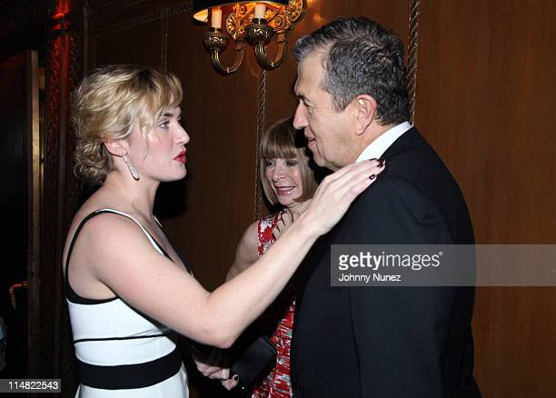 Actress Kate Winslet editorinchief of American Vogue Anna Wintour and acclaimed photographer and honoree Mario Testino attend the El Museo Del Barrio...
