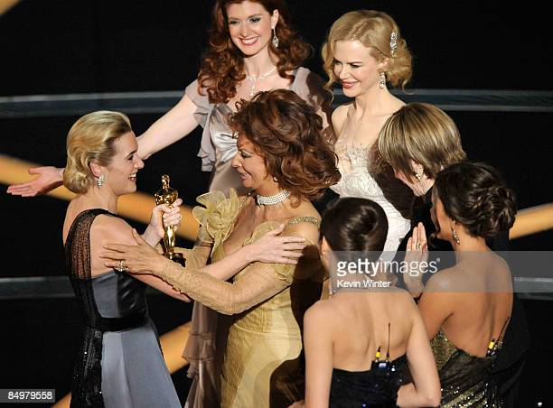 Actress Kate Winslet embraces presenter Sophia Loren after winning the Best Actress award for The Reader during the 81st Annual Academy Awards held...