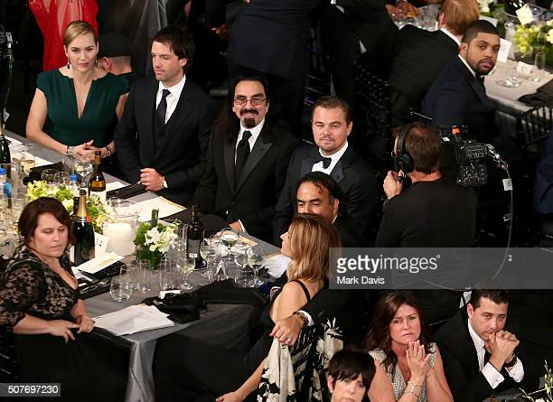 Actress Kate Winslet Ned Rocknroll Leonardo DiCaprio and Alejandro Gonzalez Inarritu attend The 22nd Annual Screen Actors Guild Awards at The Shrine...