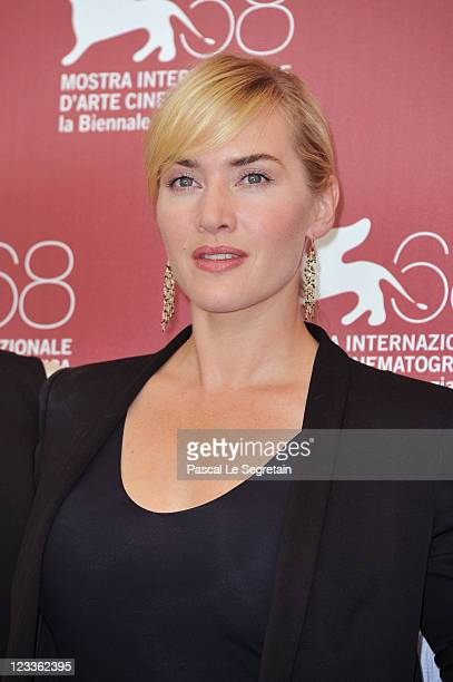 Actress Kate Winslet poses at the Mildred Pierce photocall at the Palazzo del Cinema during the 68th Venice Film Festival on September 2 2011 in...