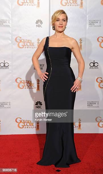 Actress Kate Winslet poses in the press room at the 67th Annual Golden Globe Awards held at The Beverly Hilton Hotel on January 17, 2010 in Beverly...