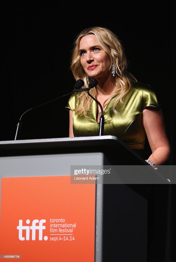 Actress Kate Winslet speaks onstage at the 'A Little Chaos' premiere introduction during the 2014 Toronto International Film Festival at Roy Thomson Hall on September 13, 2014 in Toronto, Canada.