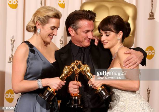 Actress Kate Winslet winner Best Actress for 'The Reader' actor Sean Penn winner Best Actor for 'Milk' and actress Penelope Cruz winner Best...