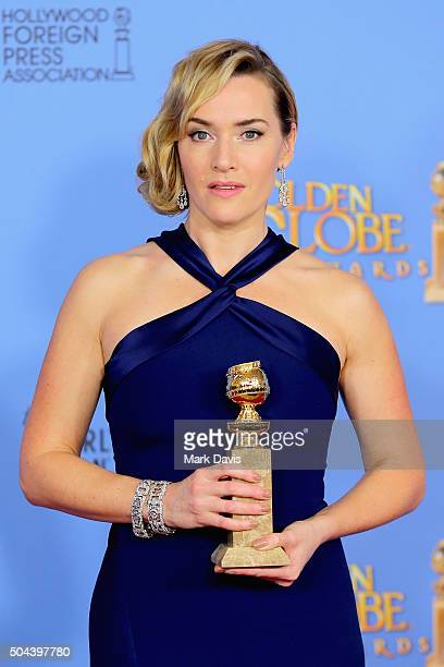 Actress Kate Winslet winner of Best Performance by an Actress in a Supporting Role in any Motion Picture poses in the press room during the 73rd...