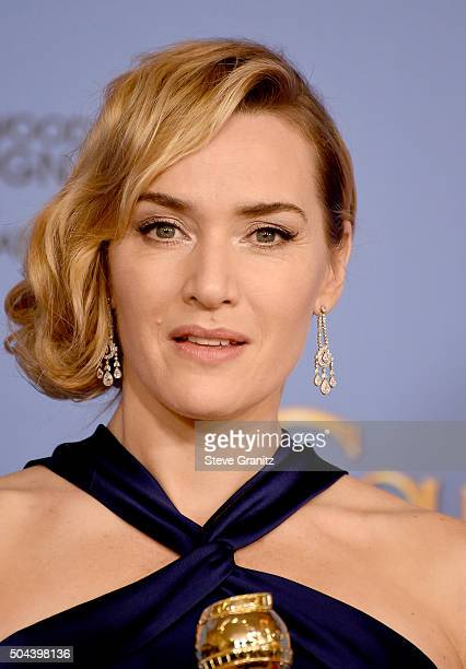 Actress Kate Winslet winner of the award for Best Performance by an Actress in a Supporting Role in any Motion Picture for Steve Jobs poses in the...