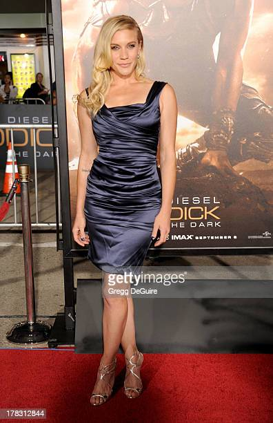"""Actress Katee Sackhoff arrives at the Los Angeles premiere of """"Riddick"""" at the Westwood Village Theatre on August 28, 2013 in Westwood, California."""