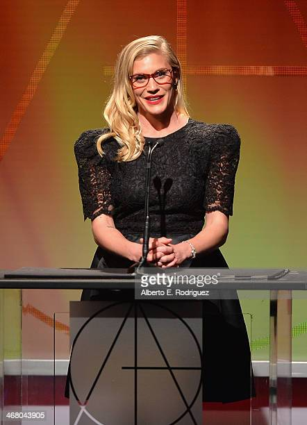 Actress Katee Sackhoff speaks on stage atthe 18th Annual Art Directors Guild Exellence In Production Design Awards at The Beverly Hilton Hotel on...
