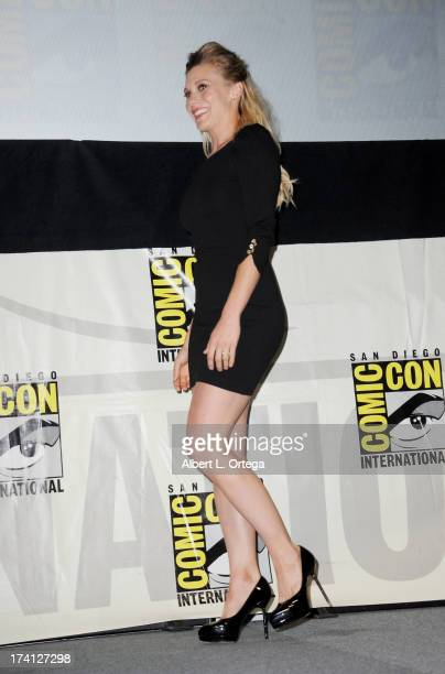 Actress Katee Sackhoff speaks onstage at Entertainment Weekly's Women Who Kick Ass during ComicCon International 2013 at San Diego Convention Center...