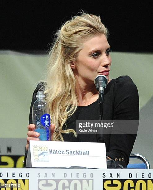 """Actress Katee Sackhoff speaks onstage at the Lionsgate preview featuring """"I, Frankenstein"""" and """"The Hunger Games: Catching Fire"""" during Comic-Con..."""