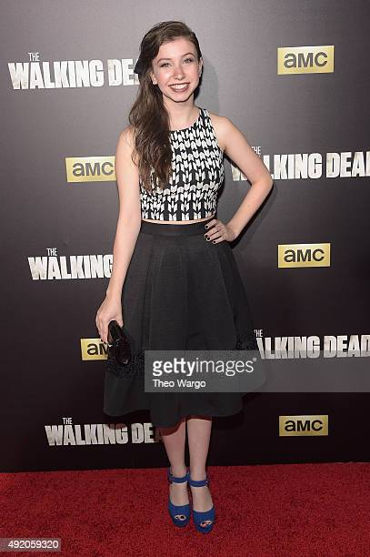 Actress Katelyn Nacon attends the season six premiere of The Walking Dead at Madison Square Garden on October 9 2015 in New York City