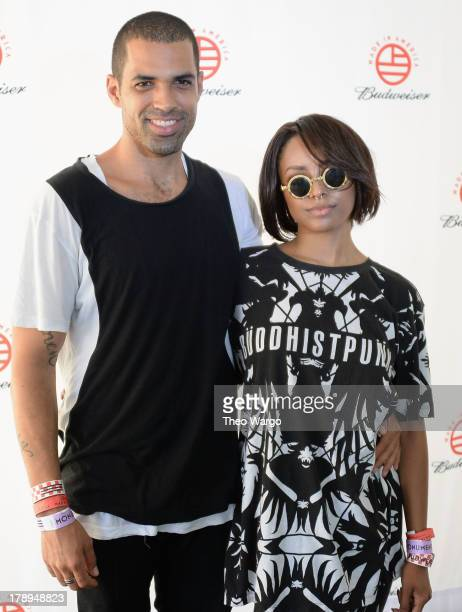 Actress Katerina Graham and Cottrell Guidry attend the 2013 Budweiser Made In America Festival at Benjamin Franklin Parkway on August 31 2013 in...