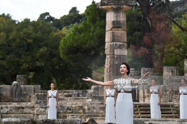 Actress Katerina Lechou acting the high priestess performs at the Temple of Hera in Olympia the sanctuary where the Olympic Games were born in 776 BC...