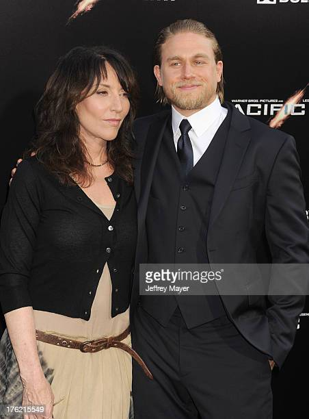Actress Katey Sagal and actor Charlie Hunnam arrive at the 'Pacific Rim' Los Angeles Premiere at Dolby Theatre on July 9 2013 in Hollywood California