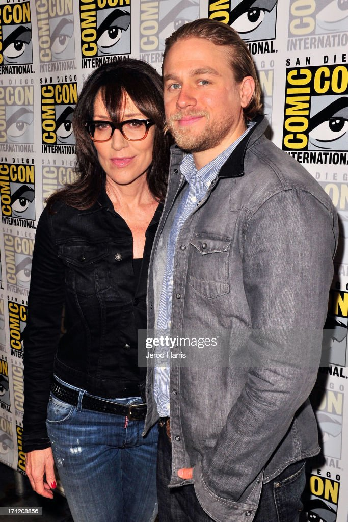 Actress Katey Sagal and actor Charlie Hunnam attend the 'Sons Of Anarchy' press line during Comic-Con International 2013 at San Diego Convention Center on July 21, 2013 in San Diego, California.