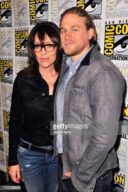 Actress Katey Sagal and actor Charlie Hunnam attend the 'Sons Of Anarchy' press line during ComicCon International 2013 at San Diego Convention...