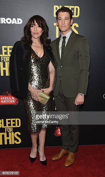 Actress Katey Sagal and actor Miles Teller attend as Open Road with Men's Fitness host the premiere of Bleed For This at AMC Lincoln Square Theater...