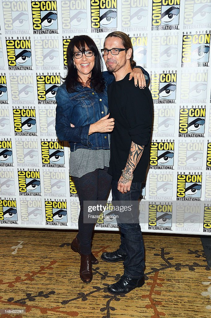 Actress Katey Sagal and creator Kurt Sutter attend 'Sons of Anarchy' press line during Comic-Con International 2012 at Hilton San Diego Bayfront Hotel on July 15, 2012 in San Diego, California.