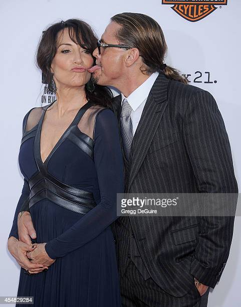 Actress Katey Sagal and executive producer Kurt Sutter arrive at FX's Sons Of Anarchy premiere at TCL Chinese Theatre on September 6 2014 in...