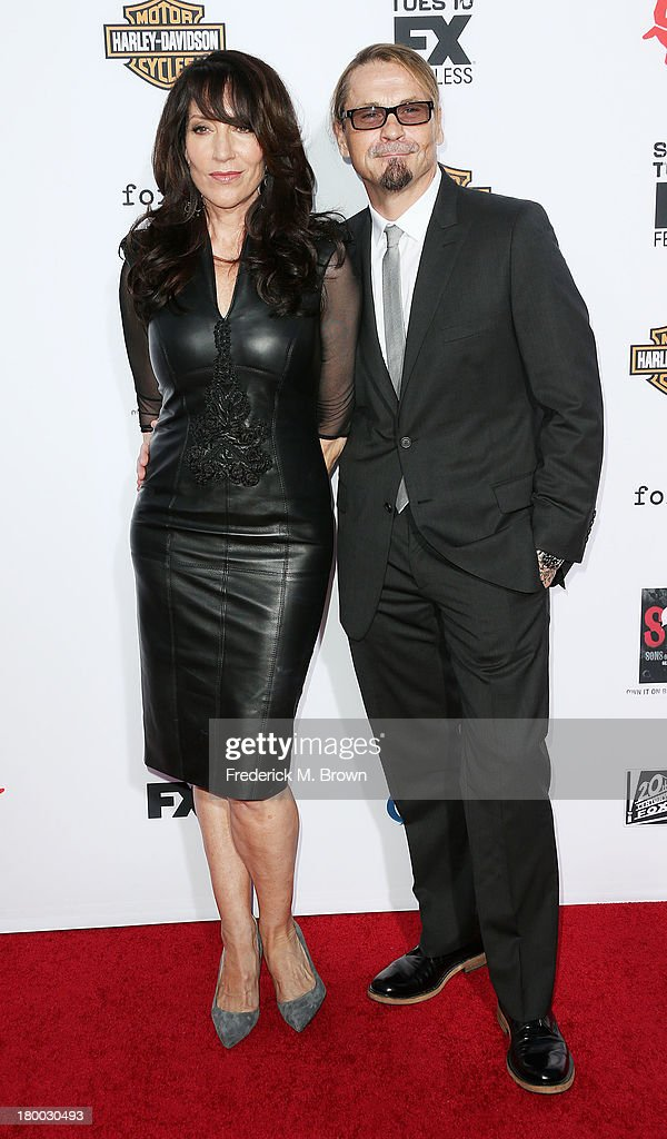 Actress Katey Sagal (L) and Executive Producer Kurt Sutter attend the Premiere of FX's 'Sons of Anarchy' Season 6 at the Dolby Theatre on September 7, 2013 in Hollywood, California.