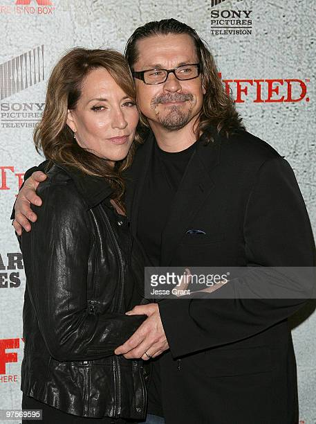 Actress Katey Sagal and producer Kurt Sutter arrive at the 'Justified' Premiere Screening at the Directors Guild Theatre on March 8 2010 in Los...