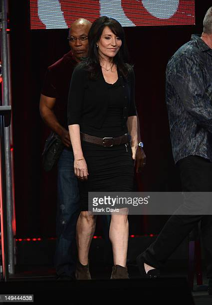 """Actress Katey Sagal speaks onstage at the """"Sons of Anarchy"""" panel during the FX portion of the 2012 Summer TCA Tour on July 28, 2012 in Beverly..."""