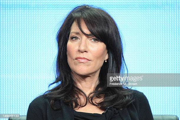 Actress Katey Sagal speaks onstage at the Sons of Anarchy panel during the FX portion of the 2012 Summer TCA Tour on July 28 2012 in Beverly Hills...