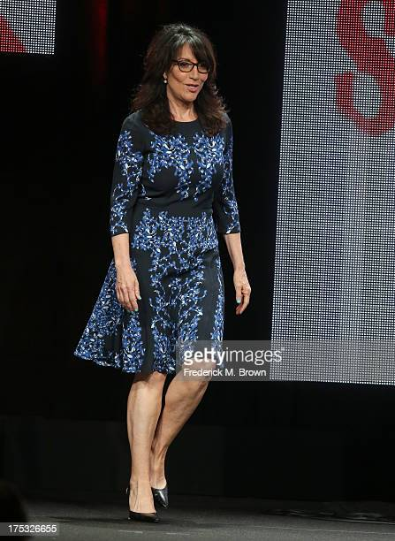 Actress Katey Sagal walks onstage during the Sons of Anarchy panel discussion at the FX portion of the 2013 Summer Television Critics Association...