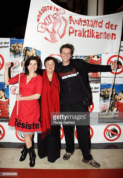 Actress Katharina Wackernagel and mother Sabine Wackernagel and director Jonas Grosch attend the photocall of 'Resiste Rebellion of the trainees' at...